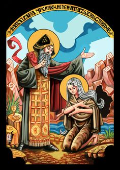 Mary of Egypt was a desert ascetic who repented of a life of prostitution… Catholic Art, Catholic Saints, Religious Icons, Religious Art, St Mary Of Egypt, St John's Bible, Church Icon, Christian Artwork, Esoteric Art