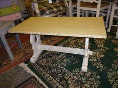 Solid oak coffee table in Annie Sloan Old White and Versailles. See http://www.retroville.co.uk for more info