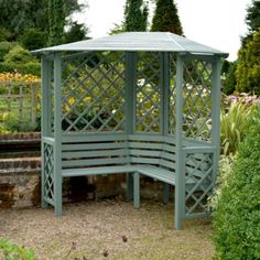 Blooma 2.10x1.58x1.58 Chiltern Painted Willow Corner Arbour, Just ordered this, pre painted :-)