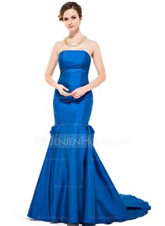 Trumpet/Mermaid Strapless Sweep Train Taffeta Evening Dress With Ruffle (007051356)