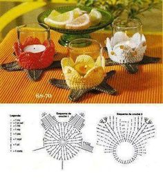 Teelichthalter, gehäkelt ♥ Crochet candle holders with diagramVotive cup or tea light crochet pattern diagram.Hello friends of free crochet. See this different point in crochet to create a charming port candles to decorate your room and even your Crochet Motifs, Crochet Potholders, Crochet Diagram, Crochet Doilies, Crochet Flowers, Crochet Patterns, Crochet Kitchen, Crochet Home, Crochet Gifts