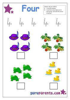 preschool number 4 worksheet
