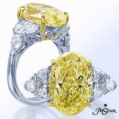 Classically elegant this five-stone engagement ring features an exquisite oval fancy yellow diamond center with half moon and shield diamond sides. Set in pure platinum and 18k yellow gold #yellowdiamond #diamonds