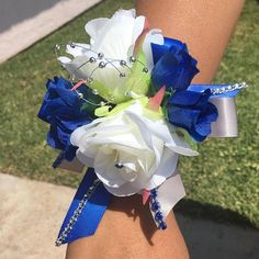 Royal blue and Gray wrist corsage with BoutonniereWrist