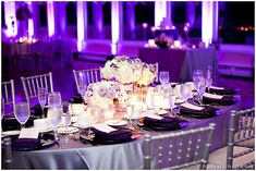 purple lighting...we are so not gonna spend money hiring a lighting company but I do love this look!