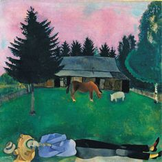 Marc Chagall (1887-1985)    The Poet Reclining,1915