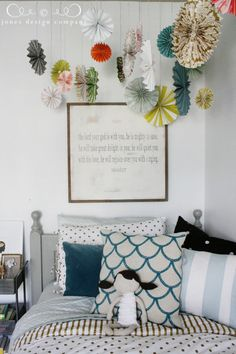 /fan idea from paper source.... If a girl...cluster above crib in corner?? Or above corner by dresser...