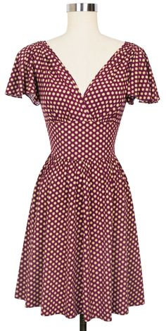 Camilla Dress in Wine Dots