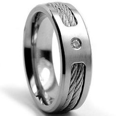 7 MM Titanium ring Wedding band with Stainless steel Cable Inlay and Cubic Zirconia size 12, (black titanium, mens rings)mens wedding rings