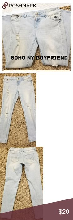 NY & CO SOHO Boyfriend Jeans These light wash distressed boyfriend jeans are the perfect addition to your wardrobe. Pair them with your favorite sweater and converse tennis shoes and you will look fashion forward and be comfortable all at the same time. EUC- Please remember these are intentionally distressed (see pics). W=16  R=8 3/4 I=27 3/4 New York & Company Jeans Boyfriend