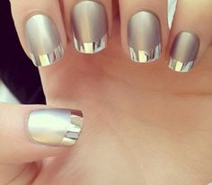 Silver and chrome nails. Matte with shiny tips