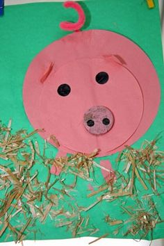 Knutselen 2d: varken Summer Camp Crafts, Camping Crafts, Fun Crafts For Kids, Art For Kids, Preschool Art Projects, Preschool Crafts, Paper Plate Art, Farm Activities, Farm Crafts