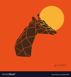 Giraffe head geometric lines silhouette isolated on orange background. Giraffe side view. Poster giraffe on the background of the sun. Download a Free Preview or High Quality Adobe Illustrator Ai, EPS, PDF and High Resolution JPEG versions.