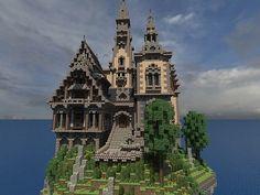Hustin Manor minecraft house floating