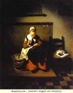 Nicolaes Maes. A Young Woman Sewing. 1655