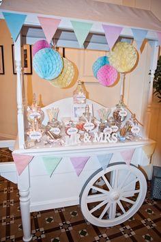 Pastel Candy Cart by Elegant Wedding Supplies Wedding Props, Wedding Candy, Wedding Desserts, Our Wedding, Wedding Decorations, Dream Wedding, Wedding Ideas, Wedding Sweet Cart, Candy Bar Decoracion