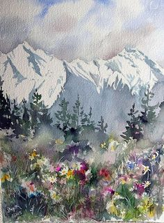 Mountain Meadow ~ artist Dieter Wystemp, c.2005; watercolor  #art #painting