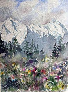 Mountain Meadow ~ artist Dieter Wystemp, c.2005; watercolor   . . . .   ღTrish W ~ http://www.pinterest.com/trishw/  . . . .  #art #painting