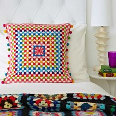 Supersize Stitches Granny Square Cross Stitch Kit - Copyright Design by Jacqui Pearce, available at JacquiP.com
