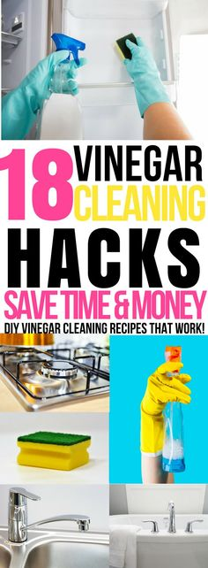 Looking for ways to clean with vinegar? These DIY vinegar cleaning solutions are amazing! Whether you're searching for vinegar cleaning spray recipes to clean floors, the microwave or bathrooms this collection of 18 homemade vinegar cleaning hacks has you covered! Find out how you can easily clean difficult areas like soap scum in bathrooms, hard stains in toilets, and stainless steel in the kitchen with vinegar! #cleaninghacks #cleaningtips