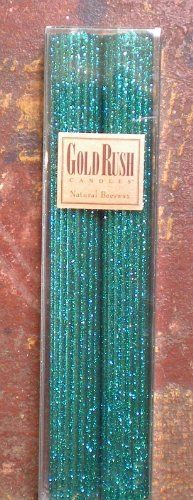 12 Inch Natural Beeswax Glitter Candles, Wild Peacock Col...