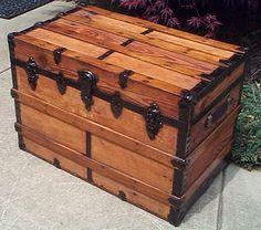 Antique Trunks, Wooden Trunks, Old Trunks, Vintage Trunks, Vintage Suitcases, Trunks And Chests, Trunks For Sale, Steamer Trunk, Wood Chest