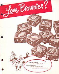 Recipe: Filled Brownies (vanilla, orange or peppermint, Baker's Chocolate, 1952) - Recipelink.com