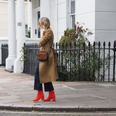 Red boot brigade - The Frugality Red Ankle Boots, Red Boots, The Frugality, Graphic Sweaters, Cropped Pants, Duster Coat, Ootd, Chic, Womens Fashion