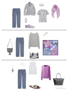 three ways to wear blue pants from a capsule wardrobe