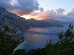 Stunning sunset colours over Apella bay Karpathos, Sunset Colors, Greek Islands, More Photos, Greece, Paradise, Colours, River, Outdoor