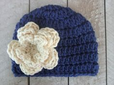 Crochet Hat PATTERN Easy Basic Beanie With Flower PDF 121 - Newborn to Adult - Permission To Sell Finished Items - Photography Prop. $3.99, via Etsy.