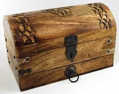 Gothic Jewelry Diy Celtic Cross Treasure Chest - This fantastic chest is marvelously constructed of wood, accented by riveted metal in the form of an ancient treasure chest, carved with a celtic cross. 10 x 6 x 6 Treasure Boxes, Treasure Chest, Pirate Treasure, Wooden Chest, Pentacle, Gothic Jewelry, Boho Jewelry, The Conjuring, Wiccan