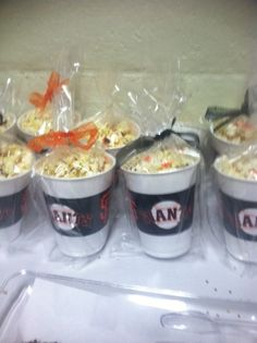 SF Giant popcorn cups - they were yummy- popcorn sprinkled with caramel!