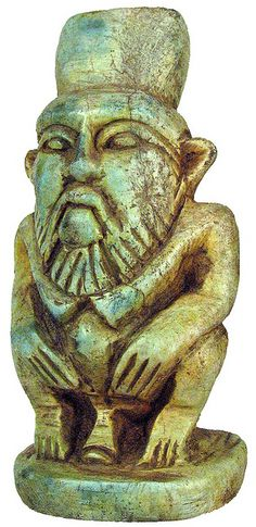 Ancient Egyptian. Carved green soapstone Bes, the Egyptian dwarf God believed to guard against evil spirits and misfortune.  .