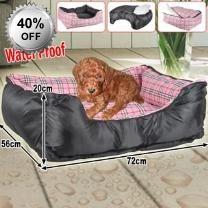 Waterproof Pink 72cm Pet Dog Bed & Removable Cover - Lounge Sleeper - Interior Pillow  - Waterproof Fabric