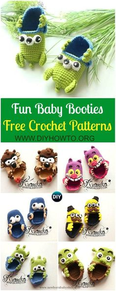 Crochet Baby Shoes Fun Crochet Baby Booties Free Patterns By Kamila Krawka: Crochet Monster, Pirates, Alien, Shrek Baby Booties Newborn shoes - Crochet Easter Egg Cozy Cover Bag Crochet, Crochet Socks, Booties Crochet, Love Crochet, Crochet Gifts, Crochet For Kids, Crotchet, Knitting Socks, Crochet Baby Clothes