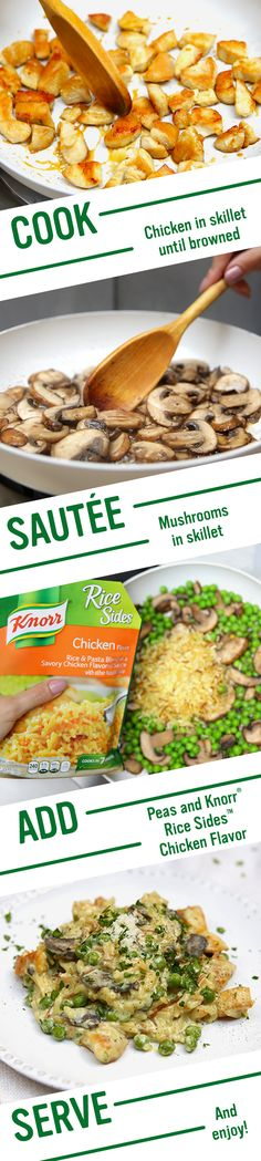Quick Risotto-Style Rice & Chicken is full of family friendly flavors! Follow Knorr's easy recipe for the best creamy dinner: 1. Melt spread in a skillet and cook chicken. 2. Sautée mushrooms, add milk, Knorr® Rice Sides™ - Chicken flavor, and peas. 3. Combine chicken, sour cream, and Parmesan cheese. Garnish, if desired, with chopped parsley and cracked black pepper. Serve and enjoy!