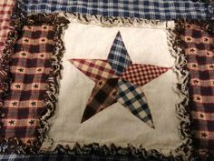 HANDMADE PRIMITIVE TABLE RUNNER, STAR, 24 INCH SQUARE HOMESPUN
