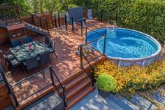 Above Ground Pool Landscaping, Above Ground Pool Decks, Backyard Pool Landscaping, Backyard Patio Designs, Swimming Pools Backyard, Swimming Pool Designs, Pool Deck Plans, Patio Plans, Decks Around Pools