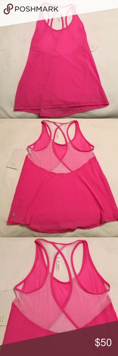 Lululemon Tranquil Tank NWT Lululemon Tranquil Tank NWT. Paradise Pink and white. Mesh on upper back. Hip length. Size 6 = small. Lightweight, breathable fabric. lululemon athletica Tops Tank Tops