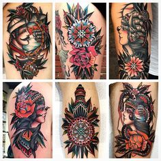 Some recent works @goodlucktattoo Melbourne! by kirk_jones