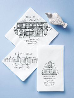 architectural sketches - stationery or napkins