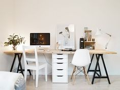 I want to make this desk for our home office seeing as I'll be sharing with the hubby. Office Nook, Home Office Space, Office Workspace, Home Office Design, Home Office Decor, Home Decor, Ikea Office, Desk Space, Ikea Table