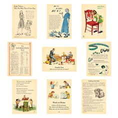 October Afternoon - Modern Homemaker - Die-Cut Wild Cards (sold in - Vintage Cards, Vintage Paper, Vintage Images, Journal Cards, Junk Journal, Book Crafts, Paper Crafts, October Afternoon, Team Challenges