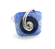 Layered Button Ring Navy Blue Marbled by TrinketsNWhatnots on Etsy