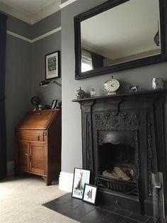Farrow & ball inspiration gallery * home * in 2019 спальня, Living Room Grey, Home Living Room, Living Room Designs, Living Room Decor, Victorian Living Room, Grey Home Decor, Front Rooms, Room Tiles, Grey Bathrooms