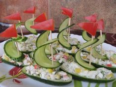 Cucumber sailboats (use baby cucumbers)