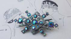 Vintage Mid Century AB Aurora Borealis Blue by VintageGoodsToGo