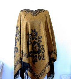 Boho chic poncho Winter fashion Bohemian cape Mustard black poncho Native american clothing winter cape Women clothings Hippie outerwear by ViolasBoutique on Etsy https://www.etsy.com/listing/251739753/boho-chic-poncho-winter-fashion-bohemian