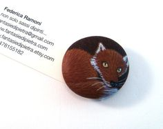 OOAK hand painted rock magnet red fox by Fantasiedipietra on Etsy